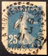 140 ° 4 Corse La Marine De Sisco Sisco Tireté Semeuse 25c Bleu 14/3/1921 Oblitéré - 1877-1920: Semi-Moderne