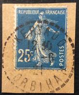 140 ° 7 Morbihan Keryado Tireté Semeuse 25c Bleu 12/6/1921 Oblitéré - 1877-1920: Semi-Moderne