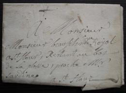 1764 Les Broussoles Cantal Lorcières, Lettre Du Curé Chassang à Saint Flour Pour Faire Transporter Des Tailles - 1701-1800: Précurseurs XVIII