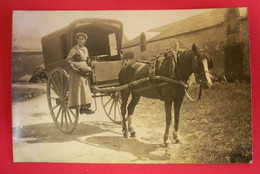 28 Auneau Ou Epernon 1917 Carte-Photo Calèche Avec Cheval Attelé Très Beau Plan Sans éditeur Dos Scanné - Auneau
