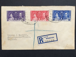 MAURITIUS George VI 1937 Coronation FDC Registered To Abingdon England - Mauritius (...-1967)