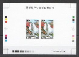 BB140 IMPERFORATE 1995 KOREA WATERFALL NATURE 100 ONLY PROOF PAIR OF 2 MNH - Other