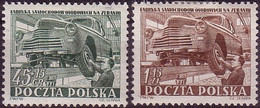 1952, Poland, Mi 787 - 788, Zeran, Industralization, Auto, Car Factory Tire I Issue Slania MNH** - Ongebruikt