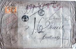ENVELOPPE DE LYON POUR MONTBRISON AFFRANCHIE N° 23X2 POIDS CORRIGÉ TAXE 16 DÉCIMES POUR INSUFFISANCE 27 AVRIL 1867 - 1849-1876: Classic Period