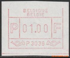 België 1983 - OBP:ATM 36 ZB/SM, Machine Stamp - XX - White Paper Top Frame Line Is Missing - Postage Labels