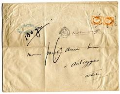ENV DE LARGENTIÈRE POUR ANTRAIGUES AFFRANCHIE N° 16 PAIRE  POIDS 130g TAXE 16 DÉCIMES POUR INSUFFISANCE 10 AOÛT1862 RARE - 1849-1876: Classic Period