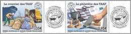 Fsat Taaf 2020 Fsat Antarctic Philately Mail Post Letter Bag Boat Postman Courier Philatelie 2v Strip  + 2 Label Mnh - Nuevos