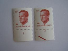 België Belgique 1983  Boudewijn Baudouin Type Velghe Gomme Verdâtre Plaatnummer Planche 1-2 2085 Yv 2087 MNH ** - Ohne Zuordnung