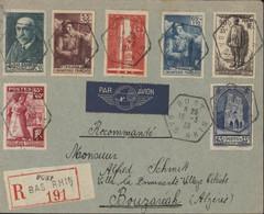 Recommandé YT 377 386 387 395 399 401 420 CAD Hexagonal Bust Bas Rhin 16 3 39 Pour Algérie Lyon Marseille Avion - 1921-1960: Moderne