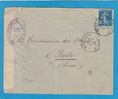 ALSACE RECONQUISE. LETTRE DE MOOSCH POUR LA COMMISSION DES OTAGES A BALE,OUVERTE PAR LA CENSURE FRANCAISE.1918. - Oorlog 1914-18
