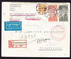 1935 R-Brief Aus Charlottenlund Nach Valparaiso. Zeppelin Südamerika Flug. Rückseitig Absender Ausgeschnitten - Airmail