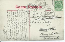 Fantasiekaart Met OCB 83 - Afstempeling OSTENDE(STATION) -BRUXELLES ARRIVEE- BRUXELLES(QUARTIER LEOPOLD)-BRUGELETTE - 1893-1907 Coat Of Arms