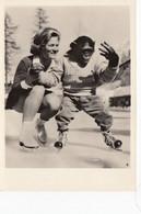 RP: Ice Skating Chimp & Girl , 1940-50s - Sports D'hiver