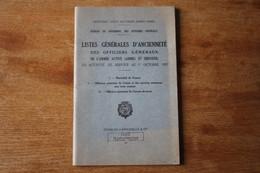 Listes  Générales D'ancienneté Des Officiers Généraux  1957    Livret Militaire - Documents