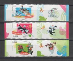 FRANCE 2009 - Fête Du Timbre Looney Tunes - Les 3 Timbres (0,56 €) Avec Vignette Attenante - Yvert  271-272-273 - KlebeBriefmarken