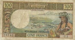 NEW CALEDONIA 100 FRANCS BROWN WOMAN HEAD FRONT &  BACK NOT DATED(1971) P61a SIG VARIETY AVF READ DESCRIPTION!! - Nouméa (New Caledonia 1873-1985)