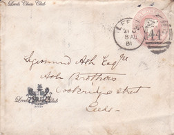 ENGLAND. LEEDS CHESS CLUB. ONE PENNY, ENTIRE ENVELOPE. CIRCULATED LEEDS, YEAR 1881.- LILHU - Covers & Documents