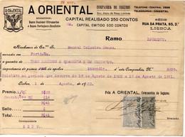 """COMPANHIA DE SEGUROS """"ORIENTAL""""1921   De  MANUEL TEIXEIRA GOMES *PRISIDENTE * - Portugal"""