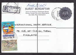 Malaysia: Stationery Registered Cover To Finland, 1988, 2 Extra Stamps, Flag, R-label Kepala Batas Kedah (minor Crease) - Malaysia (1964-...)