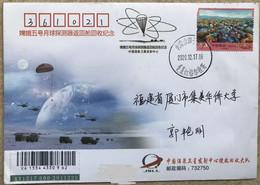 China Space 2020 Chang'E-5 Lunar Probe Return Earth Cover, Siziwangqi Postmark, Jiuquan Satellite Launch Center - Asia