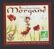 Etiquette De Bière Blonde -  Morgane  -  Brasserie Lancelot  Le Roc Saint André  (56) - Beer