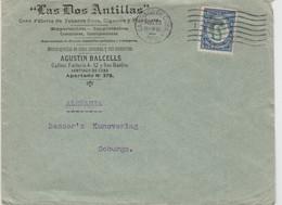 "Cuba-1910 5c Blue And Green On ""Las Dos Antillas"" Cigarets And Cigars Ob Santiago Del Cuba Cover To Coburg, Germany - Covers & Documents"