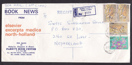 Malaysia: Registered Sea Mail Cover To Netherlands, 1982, 4 Stamps, Tiger, Flower, R-label Medan Tuanku (damaged) - Malaysia (1964-...)