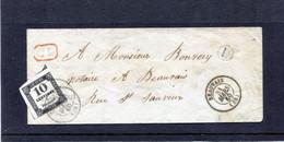 ENV LOCALE DE BEAUVAIS ISSUE D'UNE BOITE RURALE (L) TAXÉE CHIFFRE DE TAXE N°2A 31 MARS 1860 - 1859-1955 Covers & Documents