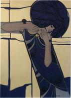 Art Nouveau Femme Signée Yvon Adam 'Dyna' - Pittura & Quadri