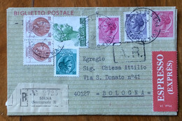 BIGLIETTO POSTALE L.40 RACCOMANDATA A.R.-ESPRESSO DA SIENA A BOLOGNA - Postwaardestukken