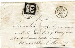 LET D'ELBOEUF POUR TOURVILLE LA RIVIÈRE TAXEE PAR ERREUR Á 30C RECOUVERT PAR CHIFRE TAXE DE 10 C N° 2 16 MARS 1862 - 1859-1955 Covers & Documents