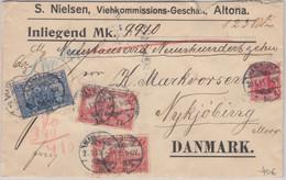 DR - 2 M. Nord/Süd U.a. Wertbrief N. DÄNEMARK Hamburg - Nykjöbing 1913 - Covers & Documents