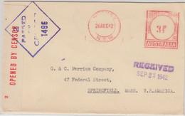 Australien - 3 1/2 P. Meter Mark Zensurbbrief N. USA Sydney - Springfield 1942 - Enteros Postales