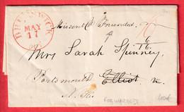BRUNSWICK BOWDOIN COLLEGE ETATS UNIS USA 1844 FORWARDE PORTSMOUTH NEW YORK - …-1845 Prefilatelia