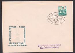 Leipzig 10 Pf. Wartburg, Ganzsache Ovaler SoSt. Sachsenschau 24.11.62, Postmeilensäule, Prägedruck - Privatumschläge - Gebraucht