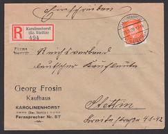 Karolinenhorst (Bz. Stettin) R-Brief 23.9.29 Mit 45 Pf. Friedrich Ebert, DR 419, Kaufhaus Georg Frosin  Nach Stettin - Poststempel - Freistempel