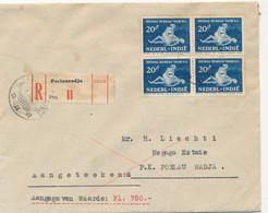 Nederlands Indië - 1940 - 4x 20c Sociaal Bureau In Blok Op R-Waarde Cover Lokaal LB POELAURADJA - Netherlands Indies