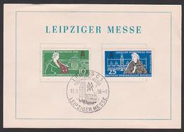 Leipziger Herbst-Messe 1958 DDR 649/50, SoSt. Technische Messe 13.9.58, Gedenkblatt, Karte Mir Dv, Pelzexport Hamster - Storia Postale