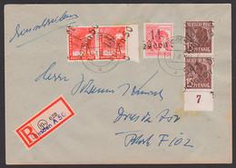 SBZ Handstempel R-Brief Dresden A50 2.7.48, Aushilf-R-Zettel - Zona Sovietica