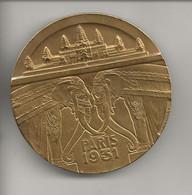 """Flan De Médaille ( Essai ? ) En Bronze Doré  """" Paris 1931 """" Graveur Teterger ?  Ou à Identifier - Professionals / Firms"""