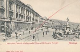 1888) MESSINA - Corso Vittorio Emanuele Colla Fontana Del Nettuno Ed Il Palazzo Del Municipio - LITH O- - Messina