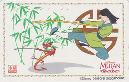 Télécarte JAPON / 110-016 - DISNEY - FILM - MULAN - MOVIE JAPAN Phonecard / Movic - Disney