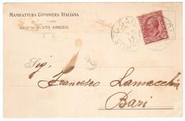 WQ75    Annullo Circolare Grande 1913 Busto Garolfo Su Cartolina Manifattura Cotoniera Italiana Per Bari - Leoni 10c - Poststempel