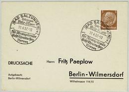 Deutsches Reich 1937, Postkarte Bad Salzungen - Berlin, Hindenburg - Hydrotherapy