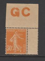 Semeuse Grasse  30c Orange Type I Papier GC - 1906-38 Sower - Cameo