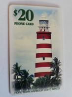 BAHAMAS $20,- CHIPCARD   HOPE TOWN LIGHT, ABACO THE BAHAMAS  LIGHT TOWER **5087** - Bahamas