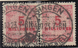 INFLA  DR 317 A P, Waagerechtes Paar, Gestempelt Singen 24.10.1923, Geprüft, Rosettenmuster 1923 - Infla