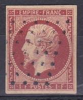 FRANCE. YVERT TELLIER Nº 18 CARMIN OBLITERÉ. CÔTE €3.400.- SOLD AS IS.- LILHU - 1853-1860 Napoleon III