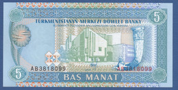TURKMENISTAN - P.2 – 5 MANAT 1993   UNC  Prefix AB - Turkmenistan