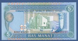 TURKMENISTAN - P.2 – 5 MANAT 1993   UNC  Prefix AD - Turkmenistan